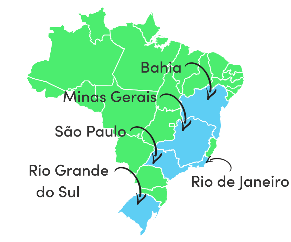 Brazil map of consumer groups and regions