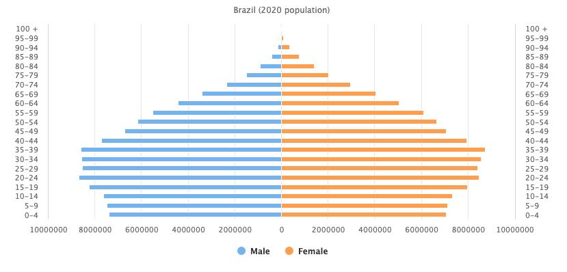 Brazil 2020 population pyramid