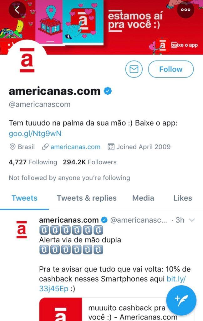 americanas.com on Twitter