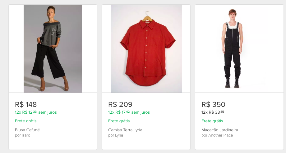 Brazil Mercado Livre top selling clothing items