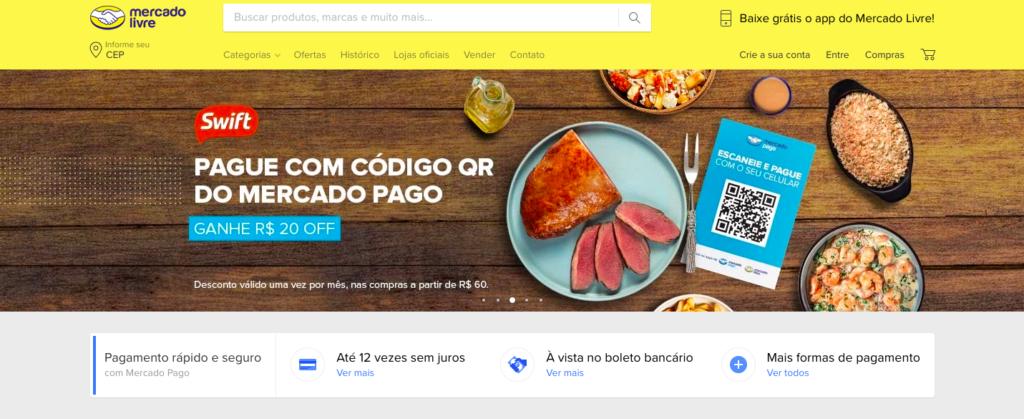 e-commerce Mercado Livre website homepage
