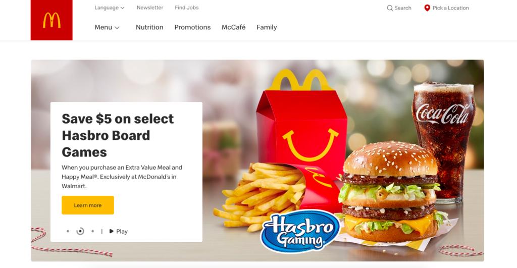 McDonalds website localization example-Canada