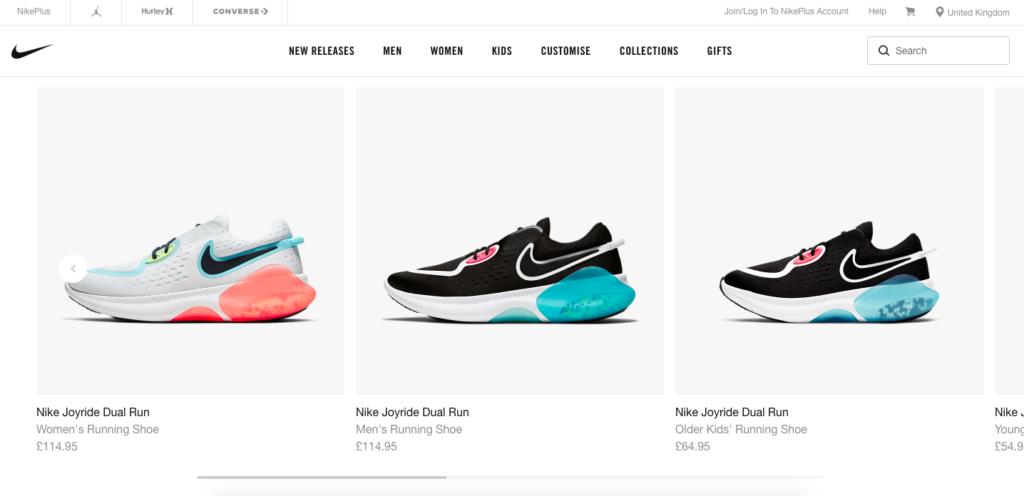 Nike website localization example-UK