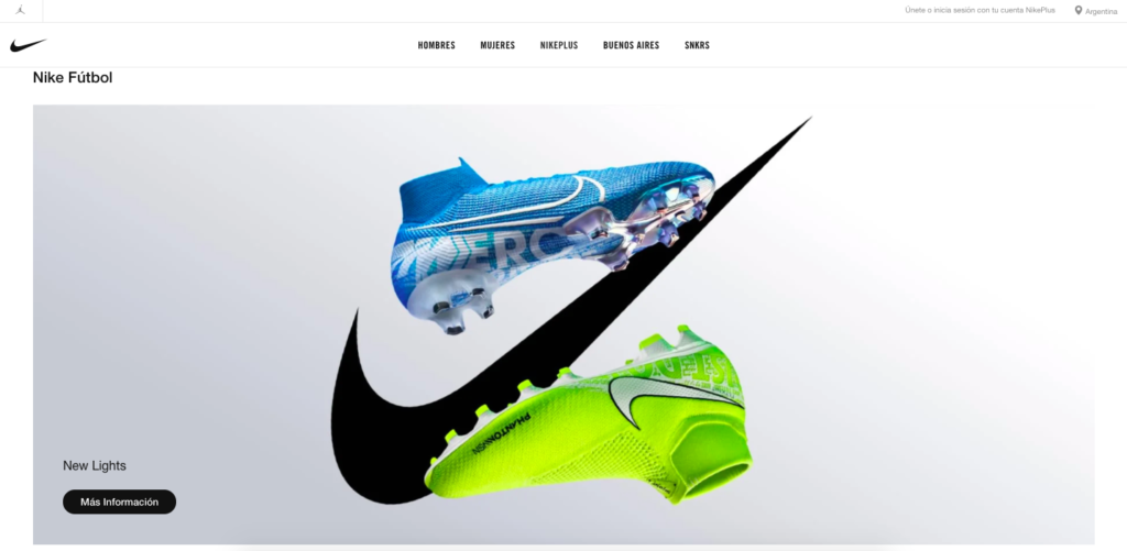 Nike website localization example-Argentina