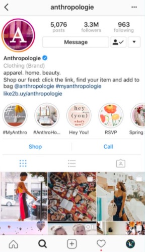 Importance of social media presence for businesses. Image shows an example of Anthropologie's instagram