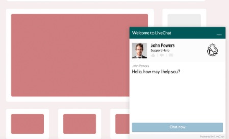 Shows an example of a chatbox on a website. An important feature to help engage with audience and build online presence